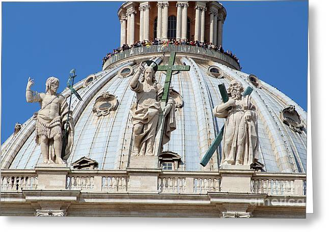 St Peter Dome In Vatican Greeting Card by George Atsametakis