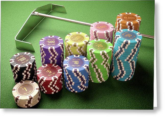 Stacks Of Gambling Chips Greeting Card by Ktsdesign