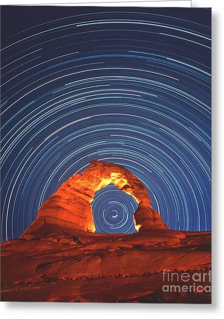 Star Trails Greeting Card by David Nunuk