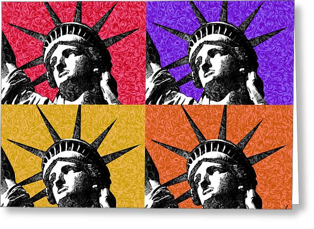 4 Starry Night Statue Of Liberty Print Greeting Card by Robert R Splashy Art Abstract Paintings