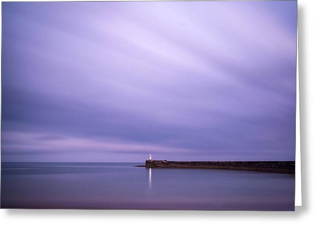 Stunning Long Exposure Landscape Lighthouse At Sunset With Calm  Greeting Card by Matthew Gibson