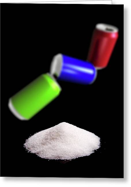 Sugar In Fizzy Drinks Greeting Card by Victor Habbick Visions/science Photo Library