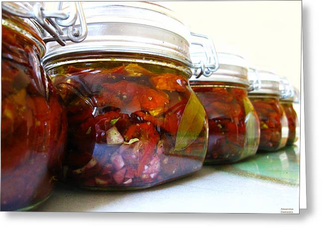 Sun Dried Tomatoes In Olive Oil Greeting Card by Alexandros Daskalakis