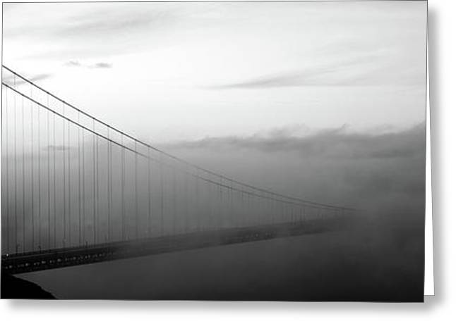 Suspension Bridge Covered With Fog Greeting Card
