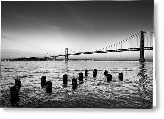 Suspension Bridge Over Pacific Ocean Greeting Card