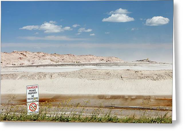 Tailings Pond At The Syncrude Mine Greeting Card by Ashley Cooper