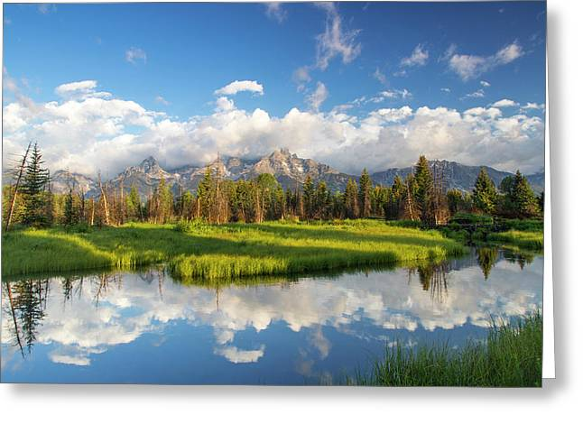 Teton Mountains Reflect In Schwabacher Greeting Card