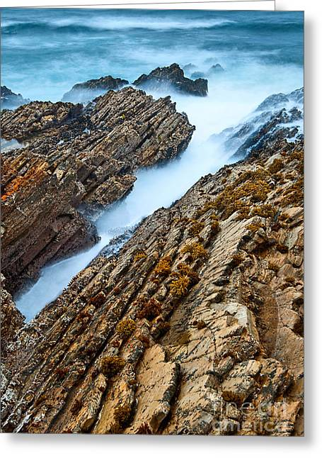 The Jagged Rocks And Cliffs Of Montana De Oro State Park In California Greeting Card by Jamie Pham