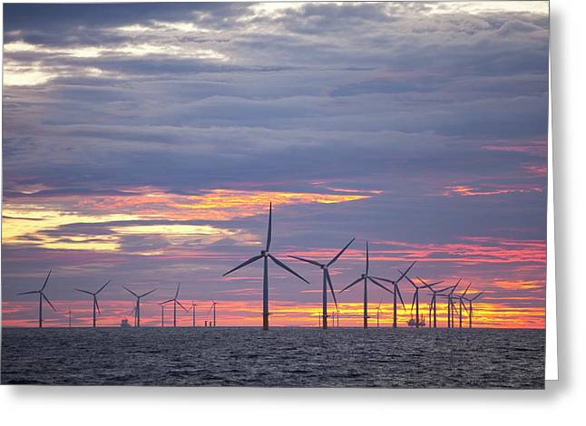 The Walney Offshore Windfarm Greeting Card by Ashley Cooper