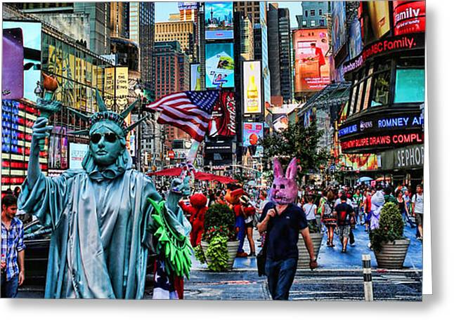 Times Square On A Tuesday Greeting Card by Lee Dos Santos