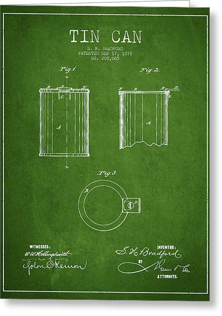 Tin Can Patent Drawing From 1878 Greeting Card by Aged Pixel