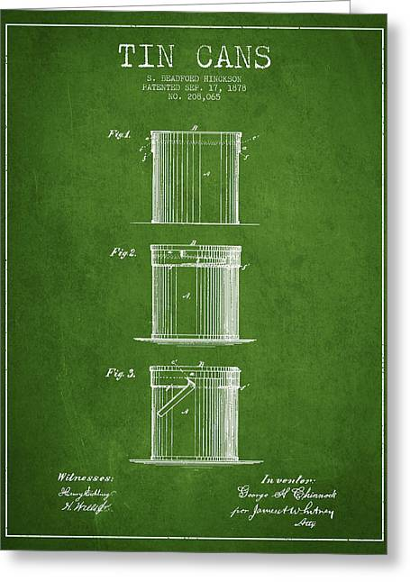 Tin Cans Patent Drawing From 1878 Greeting Card