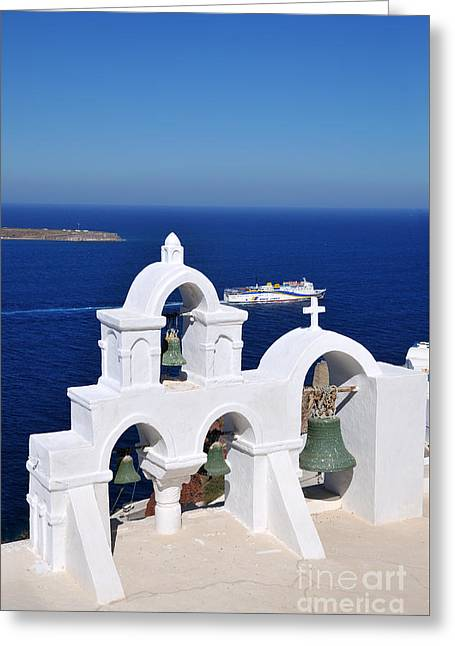 Traditional Belfry In Oia Town Greeting Card