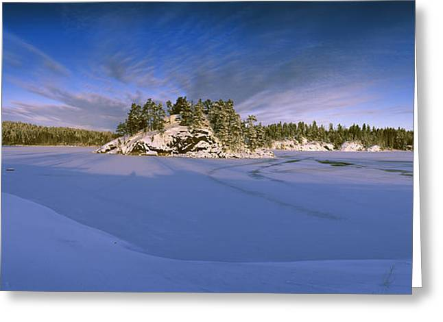 Trees Along A Frozen Lake, Saimaa Greeting Card by Panoramic Images