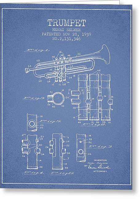 Trumpet Patent From 1939 - Light Blue Greeting Card by Aged Pixel