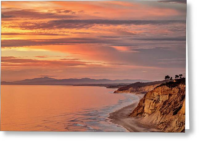 Usa, California, La Jolla, Sunset Greeting Card