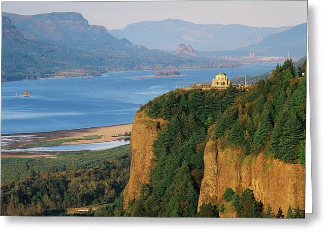 Usa, Oregon, Columbia River Gorge, View Greeting Card by Walter Bibikow