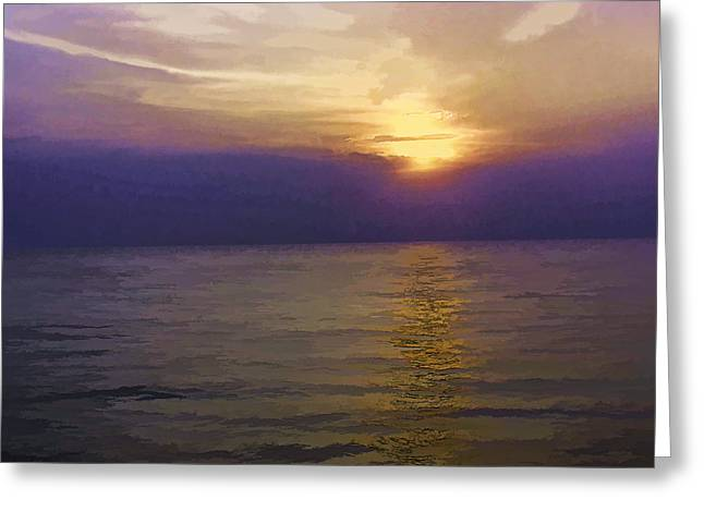 View Of Sunset Through Clouds Greeting Card