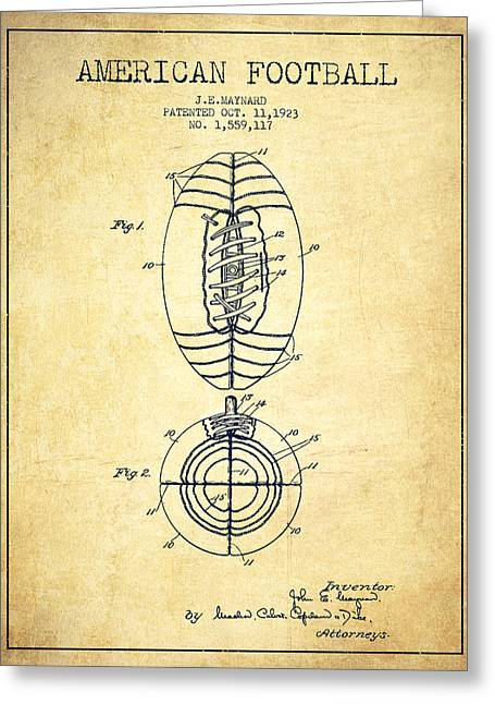 Vintage American Football Patent Drawing From 1923 Greeting Card by Aged Pixel