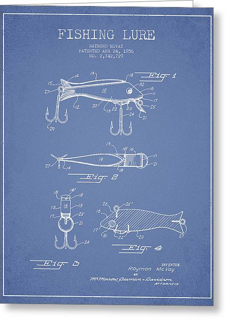 Vintage Fishing Lure Patent Drawing From 1956 Greeting Card