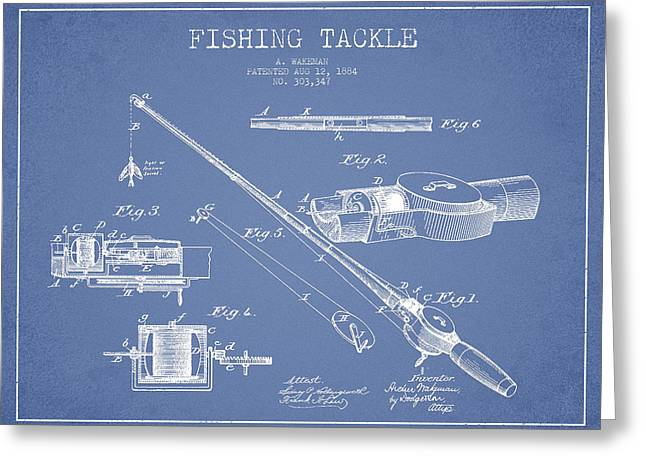 Vintage Fishing Tackle Patent Drawing From 1884 Greeting Card