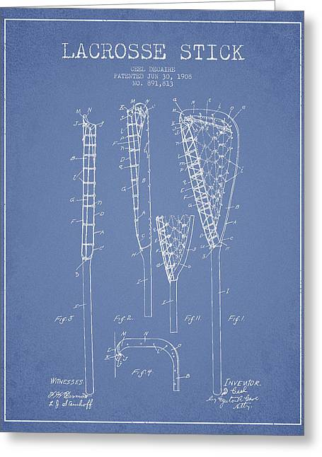 Vintage Lacrosse Stick Patent From 1908 Greeting Card by Aged Pixel