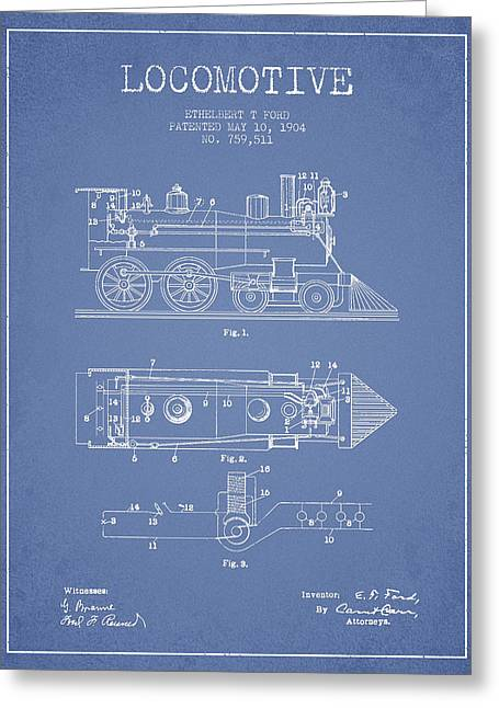 Vintage Locomotive Patent From 1904 Greeting Card by Aged Pixel