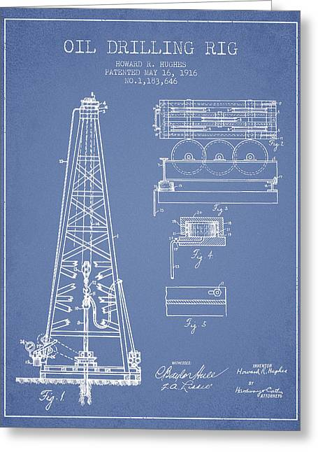 Vintage Oil Drilling Rig Patent From 1916 Greeting Card by Aged Pixel