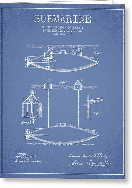 Vintage Submarine Patent From 1905 Greeting Card by Aged Pixel