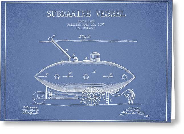 Vintage Submarine Vessel Patent From 1897 Greeting Card by Aged Pixel