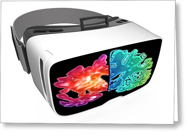 Virtual Reality Headset In Science Greeting Card by Alfred Pasieka/science Photo Library