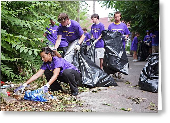 Volunteers Clearing Rubbish Greeting Card by Jim West