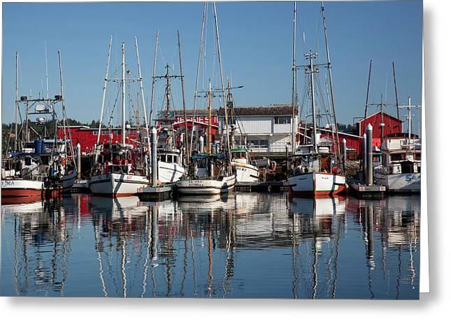 Wa, Ilwaco, Fishing Boats And Cannery Greeting Card