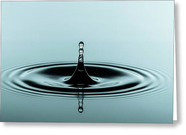 Water Droplet On Water Surface Greeting Card by Wladimir Bulgar/science Photo Library