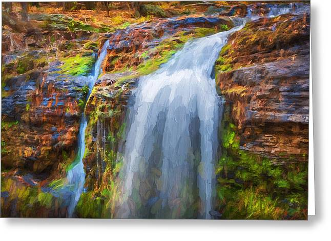 Waterfalls George W Childs National Park Painted    Greeting Card