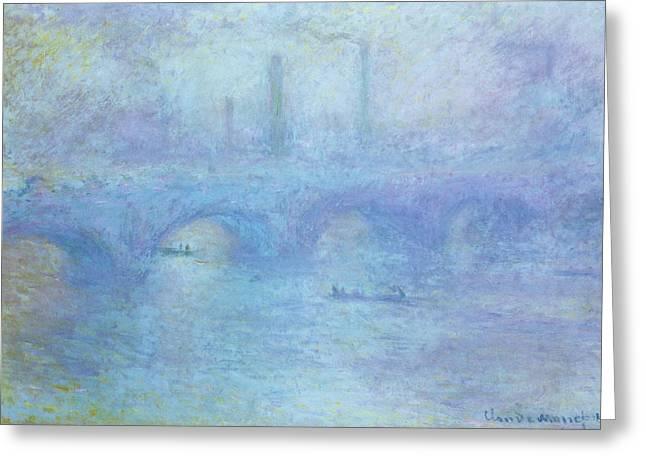 Waterloo Bridge Greeting Card by Claude Monet