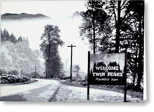 Welcome To Twin Peaks Greeting Card by Luis Ludzska
