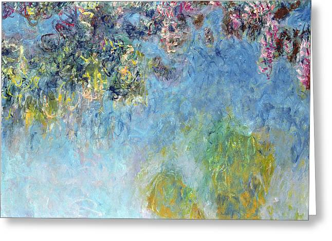 Wisteria Greeting Card by Claude Monet