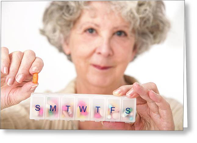 Woman Holding Pill And Pill Container Greeting Card