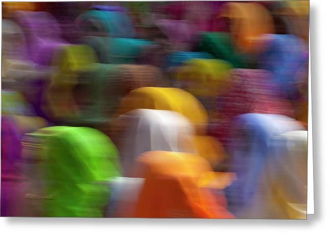 Women In Colorful Saris Gather Greeting Card by Keren Su