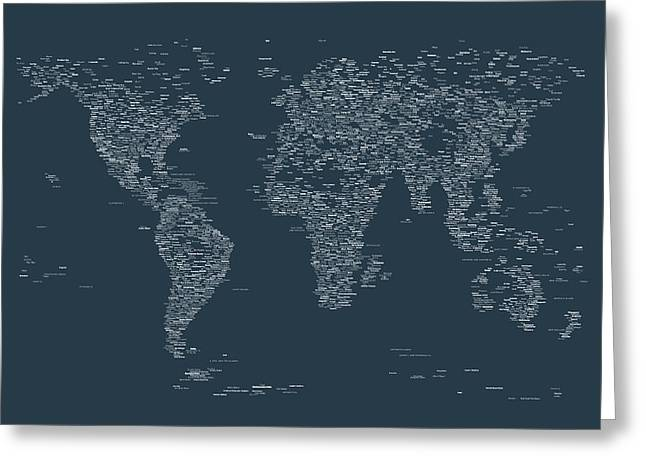 World Map Of Cities Greeting Card