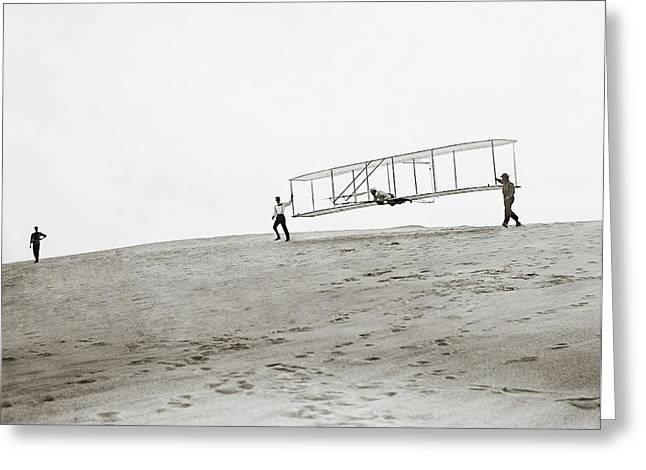 Wright Brothers Kitty Hawk Glider Greeting Card by Library Of Congress