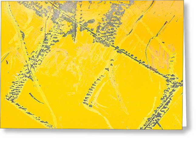 Yellow Metal Greeting Card by Tom Gowanlock