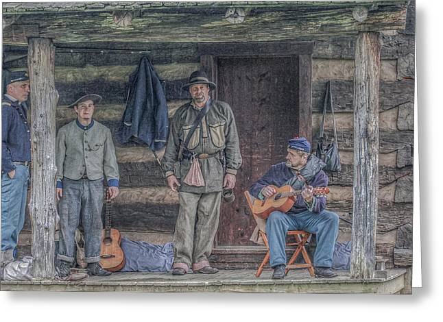 40th Pennsylvania In Camp Entertaining Prisoners Greeting Card by Randy Steele