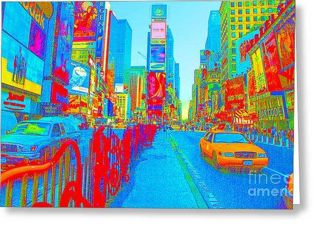 42 Street Neon Greeting Card by Dan Hilsenrath