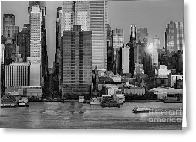 42nd Street Times Square Bw Greeting Card by Susan Candelario