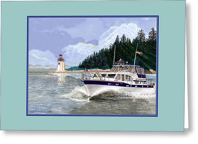 43 Foot Tollycraft Southbound In Clovos Passage Greeting Card by Jack Pumphrey