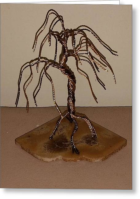 #44 Small And Simple Bonsai Tree Wire Sculpture Greeting Card by Ricks  Tree Art