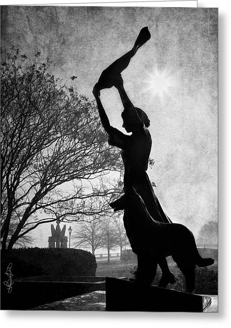 44 Years Of Waving - Black And White Greeting Card by Renee Sullivan