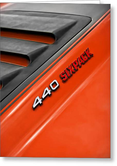 440 Six Pack Dodge Charger Hood Greeting Card
